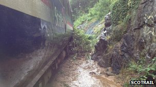 Train hits landslip near Loch Awe