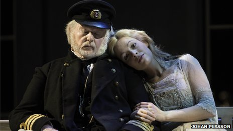 Derek Jacobi (Captain Shotover) and Fiona Button (Ellie Dunn) in Heartbreak House