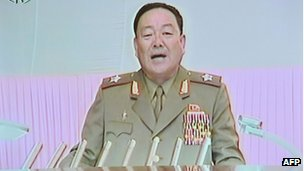 A screen grab from North Korean TV from 18 July 2012 showing Hyon Yong-chol, who has apparently been appointed to the rank of army chief