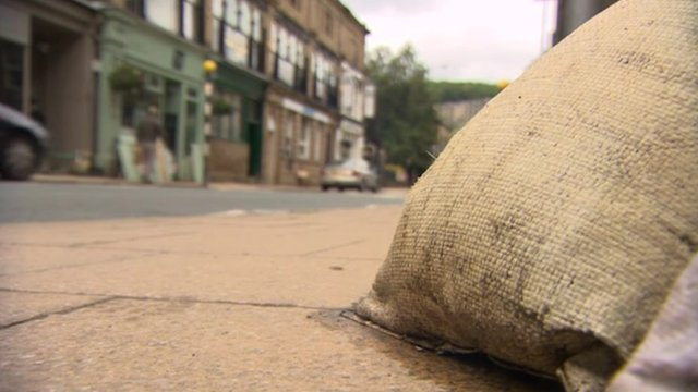 Sandbag outside business in Hebden Bridge