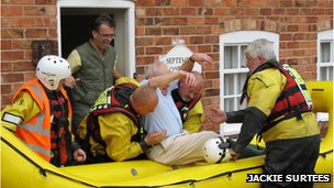 Man being rescued in Upton