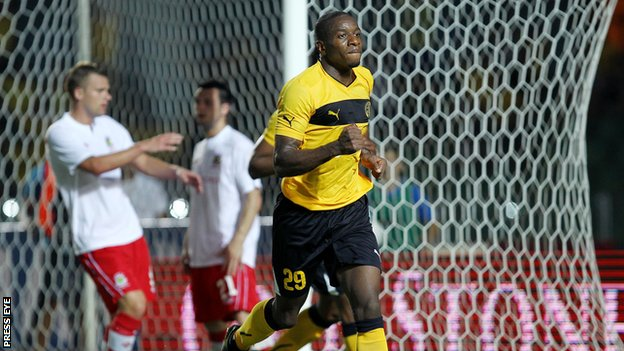 Edwin Ouon celebrates the second goal for AEL
