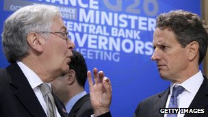 Sir Mervyn King and Timothy Geithner