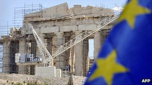 Euro flag outside crumbling building