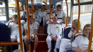 On the way to carry the Olympic flame