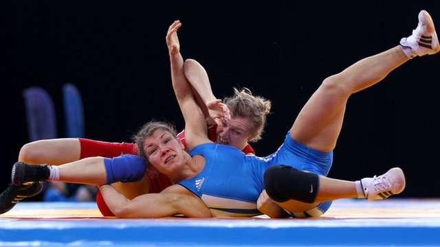 Team GB&#039;s Olga Butkevych in action