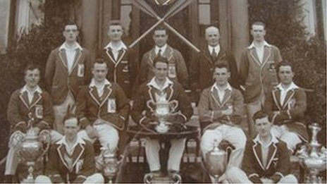 The City of Derry Boating Club team which beat the Australian 1924 world silver medallist team