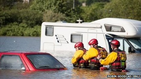 RNLI flood rescue team conduct a search in Aberystwyth
