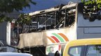 Burned out bus at Burgas airport