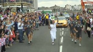 Tracey Emin carries the Olympic Torch