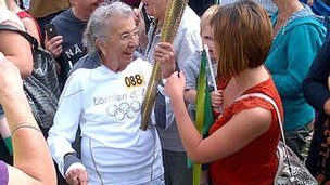 Councillor Mike Jarvis took this photo of Freda Rayner preparing to carry the flame
