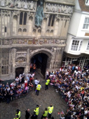 Canterbury Council tweeted this photo of the crowds waiting at Christchurch Gate