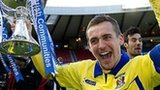 James Fowler celebrates Kilmarnock's League Cup final win