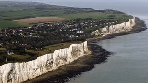 Aerial view of the white cliffs of Dover