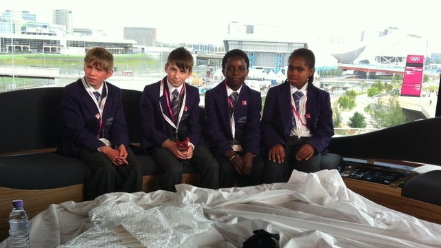 School Reporters on the sofa at the Olympic Park studio