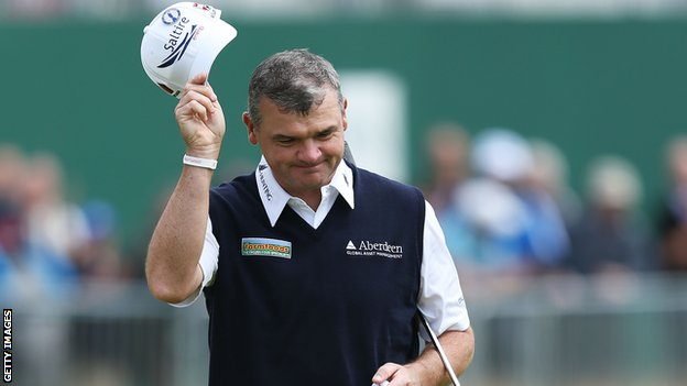 Paul Lawrie salutes the crowd at Royal Lytham