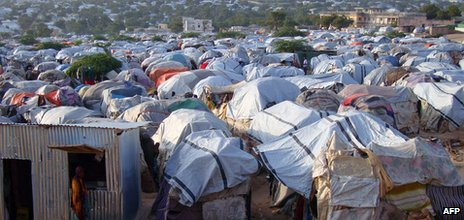 A camp for displaced people in Mogadishu