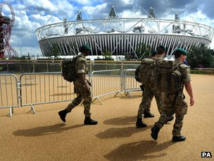 Soldiers entering Olympic Park