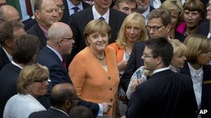 Chancellor Angela Merkel (centre) in German parliament. Photo: 19 July 2012