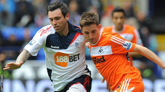 Mark Davies takes on Joe Allen in April 2012