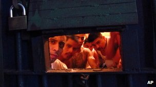 Prisoners in Granja Canada prison in Escuintla, Guatemala on 28 June 2012
