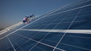 Solar panels being installed in Tianjin