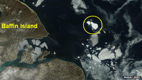 The grounded iceberg off the coast of Baffin Island. Image courtesy of NASA/GSFC, Rapid Response