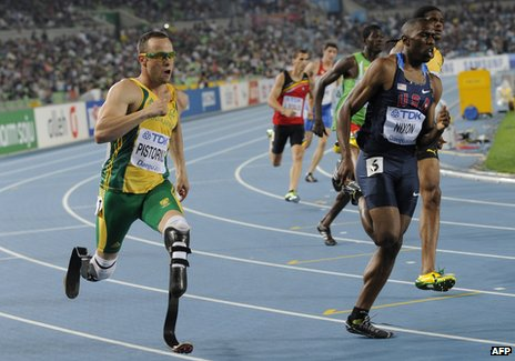 Oscar Pistorius in action - he&#039;s been picked by South Africa for the 4x400m relay squad at London 2012
