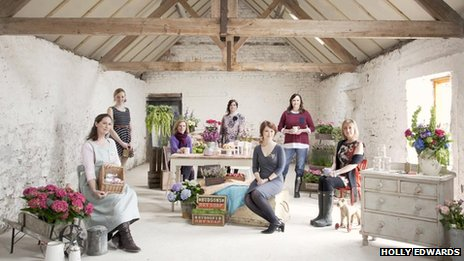 The original seven members of the Female Professional Creatives (Clwyd)