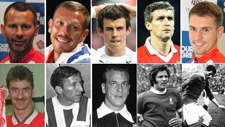 From top left clockwise: Ryan Giggs (Pic: Getty), Craig Bellamy (PA), Gareth Bale (PA), Mark Hughes (PA), Aaron Ramsey (PA), Billy Meredith (Hulton Archive), John Toshack (Hulton Archive), John Charles (Hulton Archive), Cliff Jones (Hulton Archive), Ian Rush (Getty)