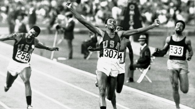 Tommie Smith winning the 200 metres final in the 1968 Olympic Games