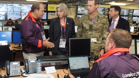 Home Secretary Theresa May and Lord Coe in the Olympics security control room, Stratford, east London