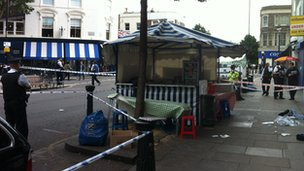 The crime scene in Golborne Road