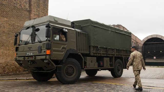 An army transport truck outside Tobacco Dock, in Wapping, east London.