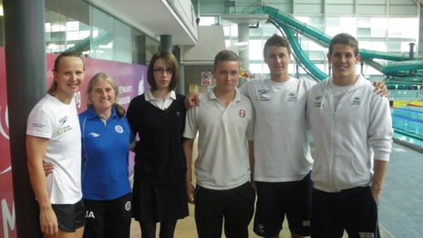 Highfields pupils and teacher Jayne Allen, 2nd left, pose with Australian swimmers including Jayden Hadler, far right, and Cameron McEvoy, 2nd right