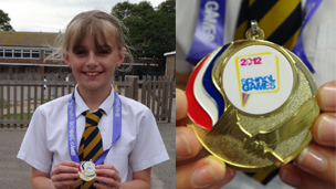 St Mary's pupil Alice poses with her Shepway Olympics medal!