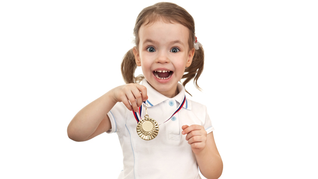 Child with medal