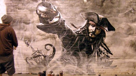 Mural of Johnny Depp painted by Darren Cullen