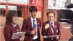 School Reporters outside Riverside Stadium