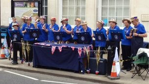 Handbell ringers in Dorking