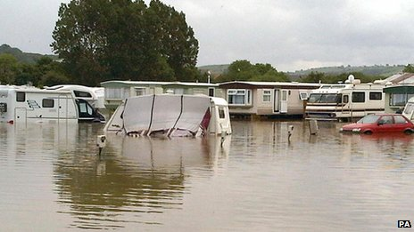 Caravan park in flood