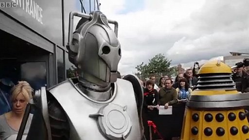 Cyberman and Dalek outside the Doctor Who Experience