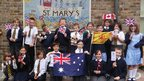 Students from St Mary's Church of England Primary School in Kent pose for World Class!  They are twinned with the old schools of UK swimmer Achieng Ajulu-Bushell, who was born in the UK but spent much of her childhood in Kenya - hence the Kenyan flag.