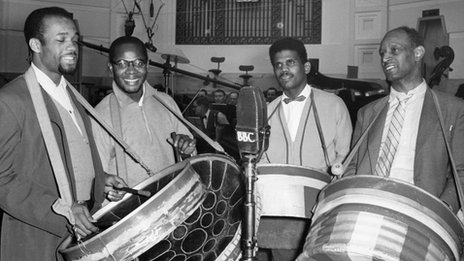 Russ Henderson&#039;s Trinidad All Steel Band. Left to right: Clement Irwin, Sterling Betancourt, Russ Henderson and Ralph Cherrie