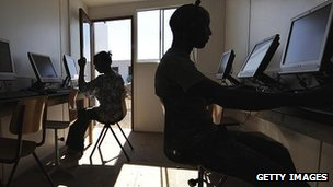 People working at computers in Africa