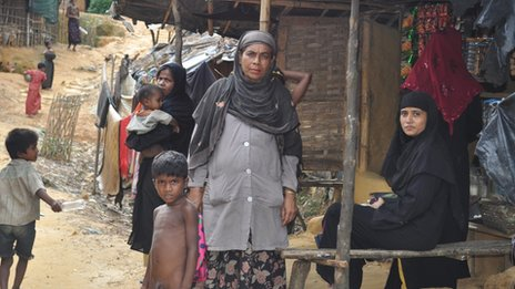 Rohingyas in camp near Teknaf
