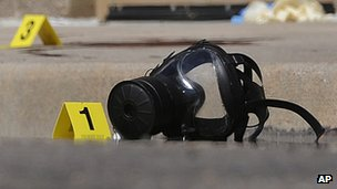 A gas mask is marked as the first piece of evidence