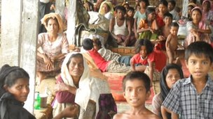 An internally displaced persons camp for Rohingya in a school compound in Maungdaw (June 2012)
