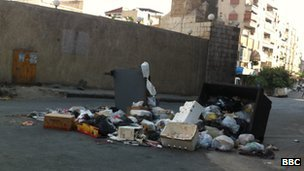 Rubbish in the streets of Midan, 20 July 2012