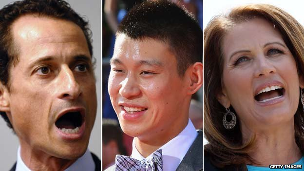 Anthony Weiner, Jeremy Lin and Michelle Bachmann